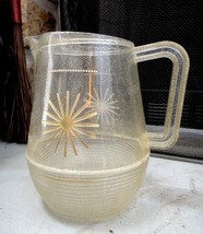 vintage ACRYLLIC SPARKLE GOLD RETRO PITCHER juce,water - $24.95