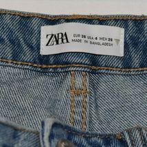Zara Women's Tattered Raw Hem Distressed Blue Denim Button Up Jean Shorts Size 4 image 3