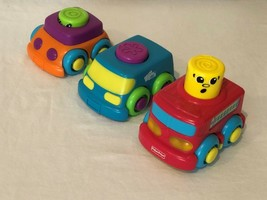 Fisher Price Stack N Surprise 3 Stacking Trucks Cars Toys Firetruck Ligh... - $11.99