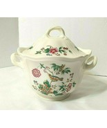 Wedgwood Floral TROPICAL GARDEN Sugar Bowl with Lid Set Bird with Flower... - $35.59