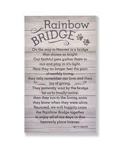 "15.75"" Pet Memorial Rainbow Bridge Wall Sign w Sentiment in Wood Panel Design"