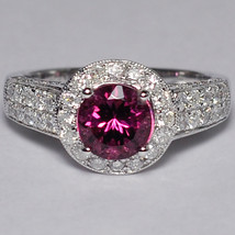 Natural Pink Tourmaline Diamond Solitaire Statement Ring Women 14K White... - $1,990.00