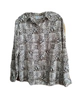Alfred Dunner Long Sleeve Button Down Leopard Print Top Blouse Size 12 P... - $19.79