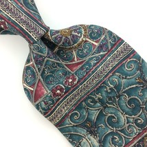 BILL BLASS USA TIE ART NOUVEAU TURQUOISE GRAY Silk Necktie Excellent Tie... - $15.83