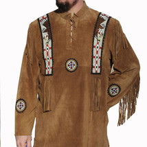 QASTAN Men's New Brown Western Eagle Beads Fringes Leather Shirt Jacket ... - $140.24+