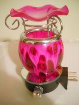 PLUG-IN Blown Glass Pink Electric Fragrance Oil Burner Lava Tart Warmer - $28.99