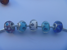 5 charms lampwork murano glass pandora style.hard to find FREE POSTAGE W... - $9.90