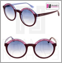 Jimmy Choo Glam Translucent Lilac Pink Glitter Bordeaux Round Sunglasses GLAM/S - $218.30