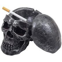 Spooky Human Skull Ashtray with Cover for Scary Halloween Decorations and Decora - $21.78