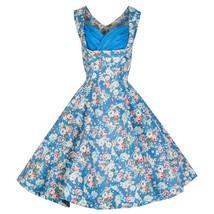 Hepburn Style Printing Vintage A-line Skirt Dress  light blue - $38.99