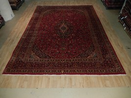 Red-Navy 10' x 13' Persian Kashan Rug Traditional Hand Knotted Area Rug - $973.31
