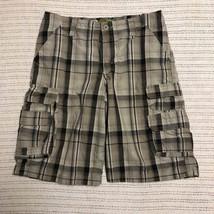 Lee Dungarees Boys Gray Plaid Cargo Shorts Size 14 Husky  - $6.03