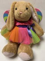 Build a Bear Brown Bunny Rabbit Plush w/ Lollipop Wing Dress Rainbow Tut... - $32.99