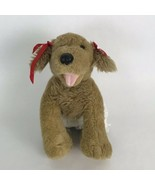 Build-a-bear Brown Puppy Dog Plush Stuffed Animal White Shorts Red Bow G... - $22.14