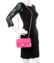 AUTHENTIC CHANEL PINK QUILTED LAMBSKIN LARGE RECTANGULAR MINI CLASSIC FLAP BAG  image 10