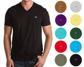New Lacoste Men's Premium Pima Cotton Sport Athletic Jersey V-Neck Shirt T-Shirt