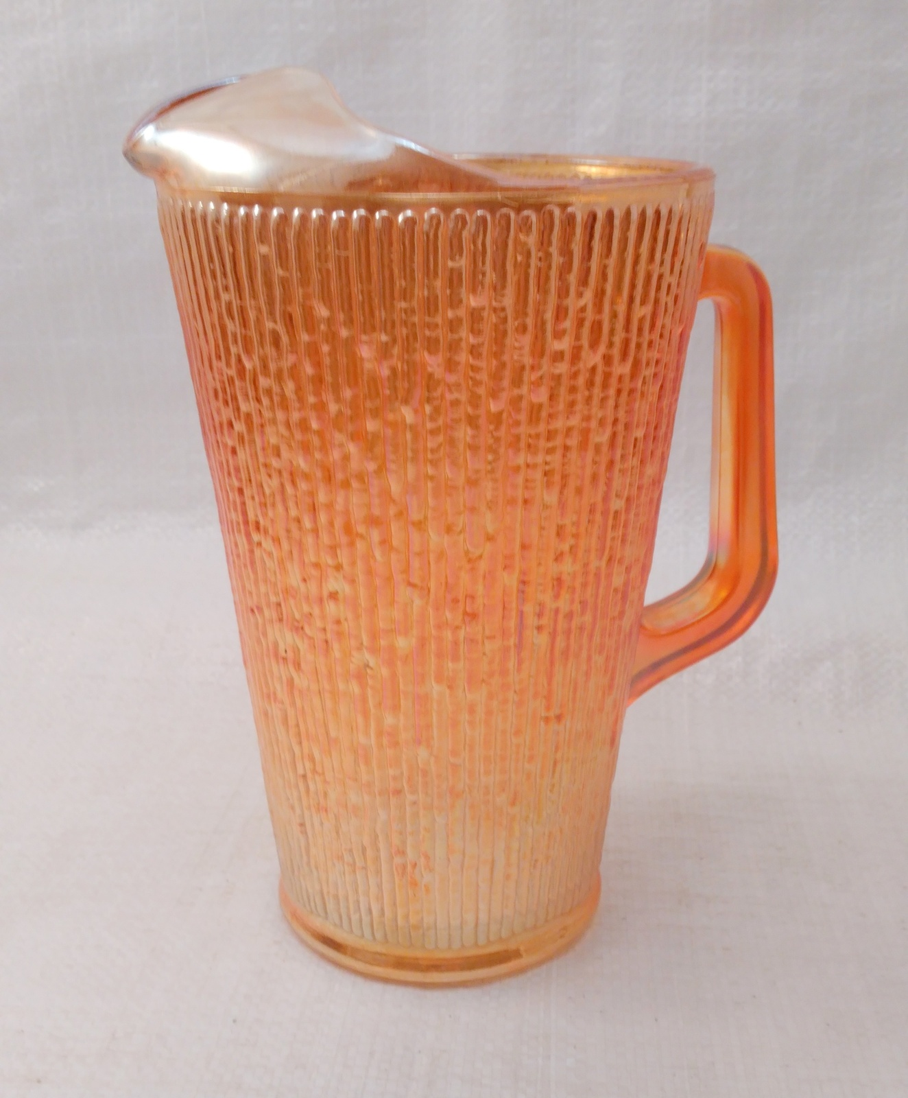 Vintage Large Jeannette Glass PITCHER Marigold Tree Bark Iridescent Carnival