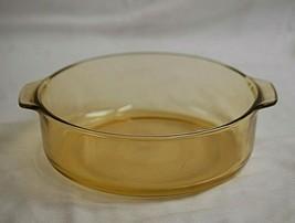 VTG PYR-O-REY Amber 2 Quart Glass Bowl Casserole Dish Tab Handles Stampe... - $36.62