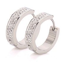 Hot Selling Stainless Steel Small Earring New Fashion Circle Clear/Green... - $13.24