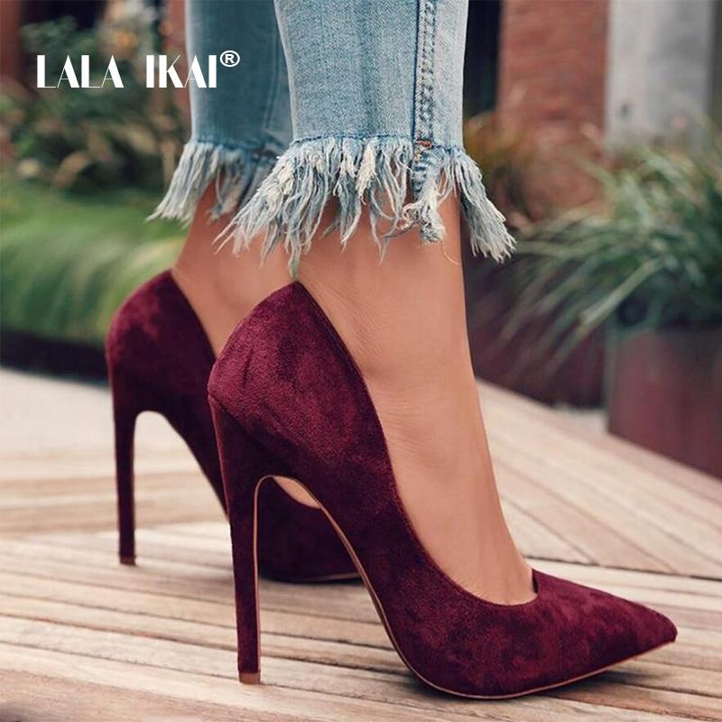 Primary image for LALA IKAI Pumps Women Shoes Red Flock Slip-On Shallow Wedding Party Pointed Toe