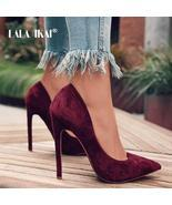 LALA IKAI Pumps Women Shoes Red Flock Slip-On Shallow Wedding Party Poin... - $656,07 MXN