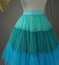 Women Knee Length Puffy Tulle Skirt Mint Green Blue Layered Tulle Skirt A-Line image 6