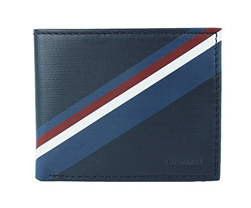 New Tommy Hilfiger Men's Leather Double Billfold Passcase Wallet & Valet / Navy