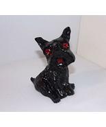 "Scottish Terrier Black Vtg Coal Figure Red Shiny Faceted Eyes 3.25"" Tall - $16.78"