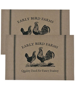 country farmhouse hen & rooster Fancy Poultry Early Bird Farms fabric PL... - $22.99