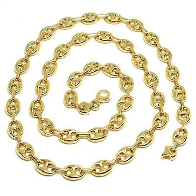 18K YELLOW GOLD MARINER CHAIN BIG OVALS 8 MM, 20 INCHES, ANCHOR ROUNDED NECKLACE