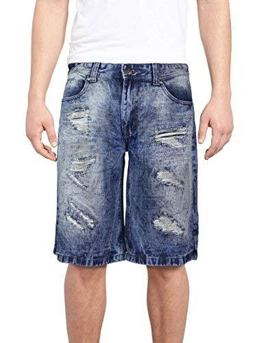 Brooklyn Xpress Men's Relaxed Fit Ripped Distressed Jean Denim Shorts (38W, BX70
