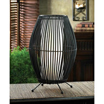 """Modern Black Metal Slat 16"""" Convex Table Lamp with Neutral Shade - $35.85"""