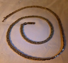 "Lovely Vintage 18K Gold Plated 20"" Necklace Flat Popcorn Chain Link - $30.00"