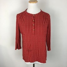 Talbots Women's Henley Button Front Red Star Print Shirt Size Large Peti... - $15.83