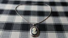 """Sterling Silver Milor Italy CAMEO Pendant Brooch Necklace 18"""" - $45.05"""
