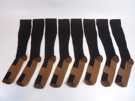 FOUR PAIRS New Copper Compression Anti-Fatigue Socks Black Large/XL Men ... - $9.95