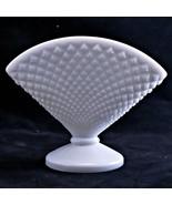 Westmoreland Vintage White Milk Glass #555 English Hobnail Fan Vase  - $9.74