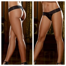 STRETCH LACE THONG LACE WAISTBAND ONE SIZE BLACK - $9.79