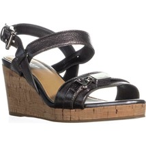 Coach Hinna Wedge Ankle Buckle Platform Sandals, Pewter, 6.5 US / 36.5 EU - $68.15