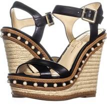 Jessica Simpson Aeralin Wedge Slingback Sandals 865, Black, 7 US / 37.5 EU - $34.55