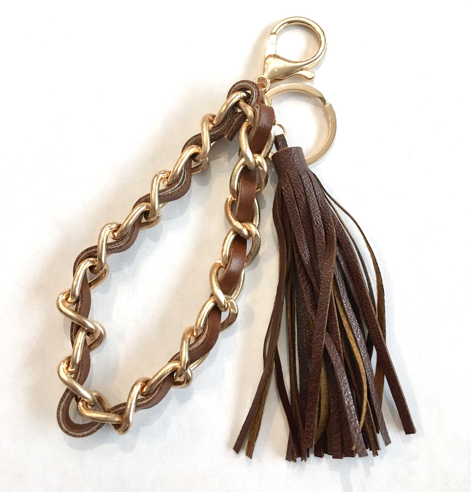 Leather Tassel Keychain, Gold Key Chain Wristlet, Brown Faux Leather Tassel