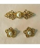 Vintage Pin Brooch and Earrings Set Pierced Ears Romantic Gold Tone Faux... - $9.99