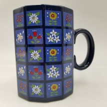 Otagiri Spring Flower Coffee Mug Tea Cup Blue Black Dodecagon 12 Sided S... - $24.99