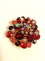 Beautiful Red and Pink Rhinestone Aurora Borealis Brooch Pin Large Vintage - $20.69