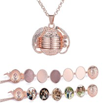 Women Photo Box Necklace Pendant Oval Foldable Multi Layer Can hold 5 Ph... - $11.83