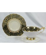 Royal Stafford Golden Scroll Tea Cup And Saucer Set - $31.49