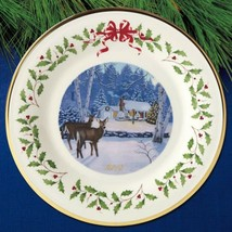 Lenox 2018 Deer Doe Holiday Plate Annual Cabin Forest Collectors Christm... - $64.29