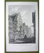 GERMANY Hannover Liebnitz House - 1820s Copper Engraving by Cpt. Batty - $21.42