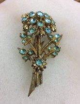 Vintage Blue Clear Rhinestone Brooch Pin Flower Gold Tone Pendant   (H2) - $5.93