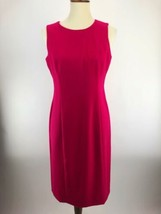 Talbots Petites Shift Dress Womens 8P Hot Pink Sleeveless Wool A4-02P - $24.13